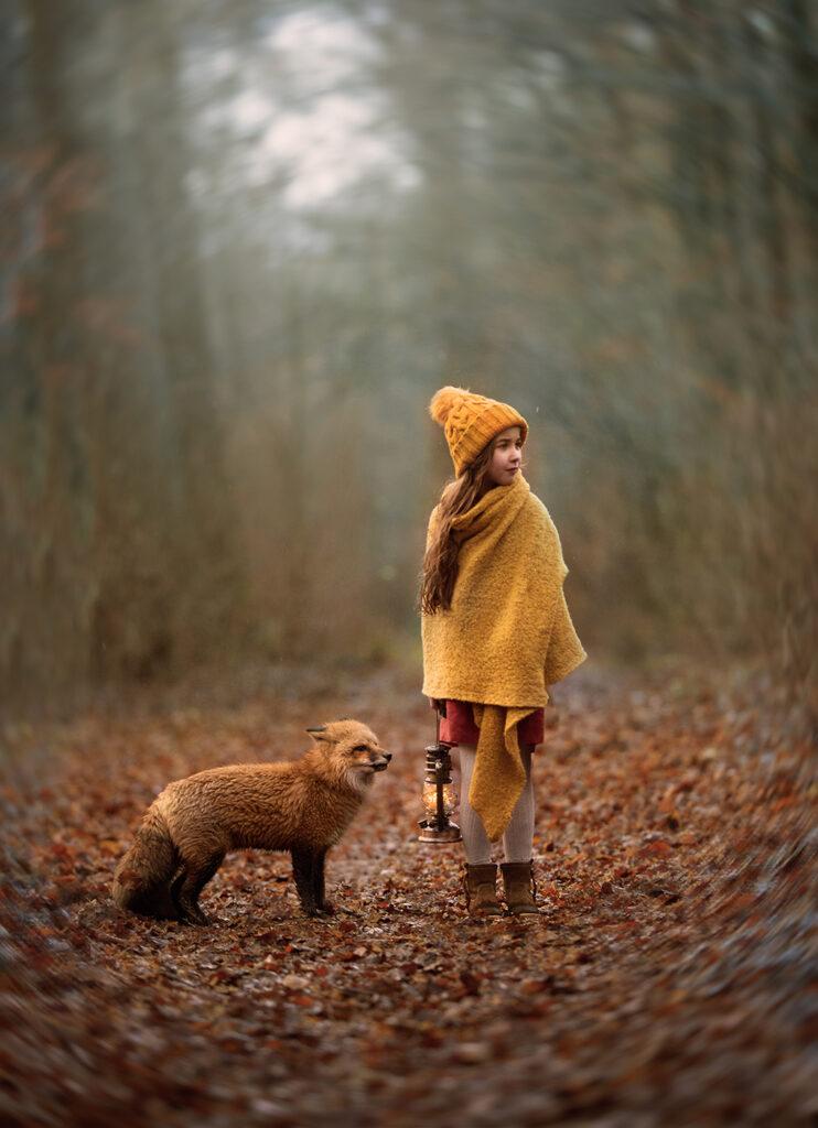 Mädchen mit einem Fuchs Fotoshooting Oldenburg